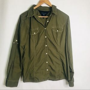 Tommy Hilfiger army green button up